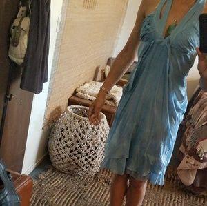 Silk Double Strap Bohemian Style Halter Dress